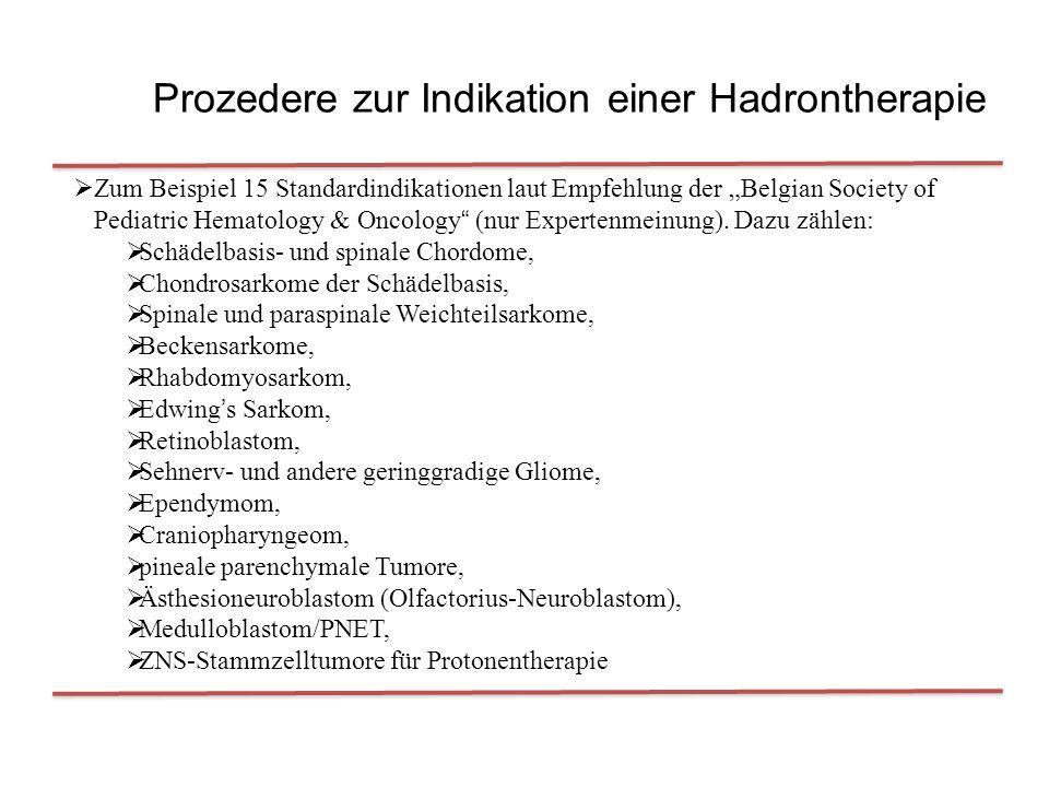 """Prozedere zur Indikation einer Hadrontherapie  Zum Beispiel 15 Standardindikationen laut Empfehlung der """"Belgian Society of Pediatric Hematology & Oncology (nur Expertenmeinung)."""