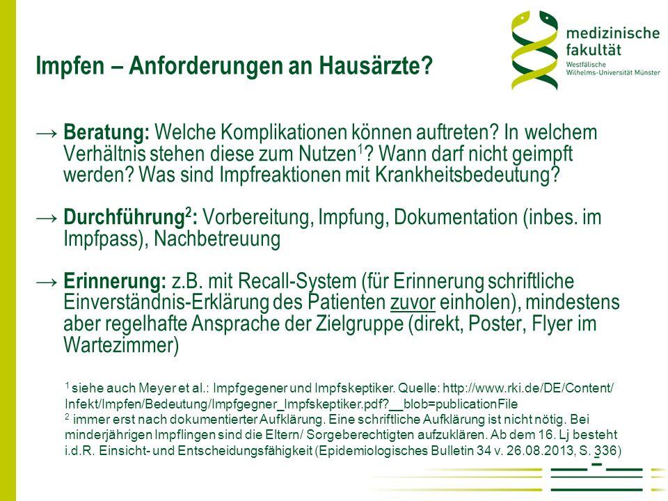 Impfberatung – verlässliche Information Für Ärzte: www.rki.de Für Patienten: www.bzga.de Siehe auch: European Center for Disease Prevention and Control http://vaccine-schedule.ecdc.europa.eu/Pages/Scheduler.aspx u.a., wie www.forum-impfen.de