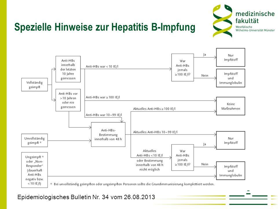 Spezielle Hinweise zur Hepatitis B-Impfung Epidemiologisches Bulletin Nr. 34 vom 26.08.2013