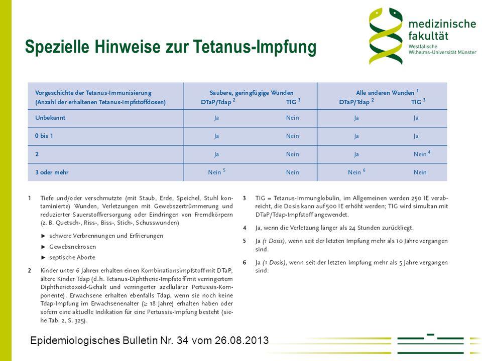Spezielle Hinweise zur Tetanus-Impfung Epidemiologisches Bulletin Nr. 34 vom 26.08.2013