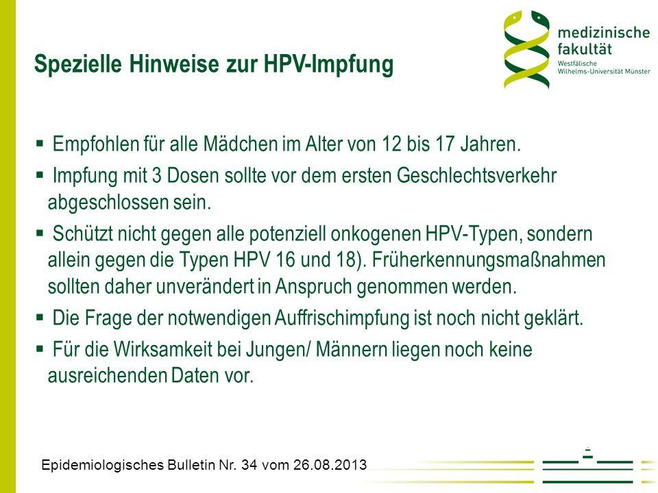 Spezielle Hinweise zur HPV-Impfung Epidemiologisches Bulletin Nr. 34 vom 26.08.2013  Empfohlen für alle Mädchen im Alter von 12 bis 17 Jahren.  Impf