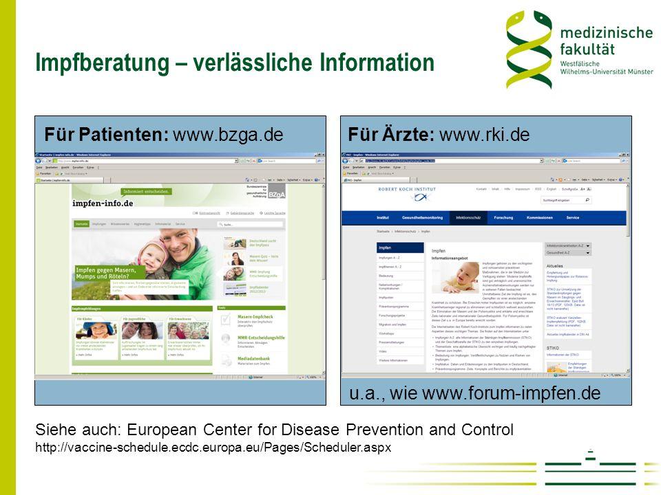 Impfberatung – verlässliche Information Für Ärzte: www.rki.de Für Patienten: www.bzga.de Siehe auch: European Center for Disease Prevention and Contro