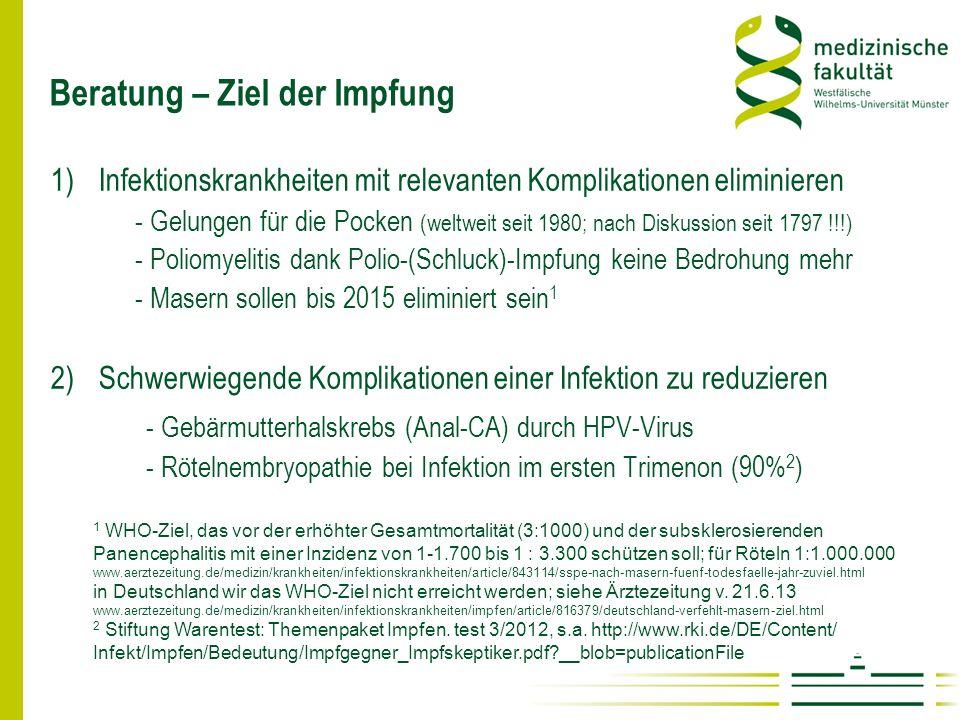Beratung – Ziel der Impfung 1)Infektionskrankheiten mit relevanten Komplikationen eliminieren - Gelungen für die Pocken (weltweit seit 1980; nach Disk