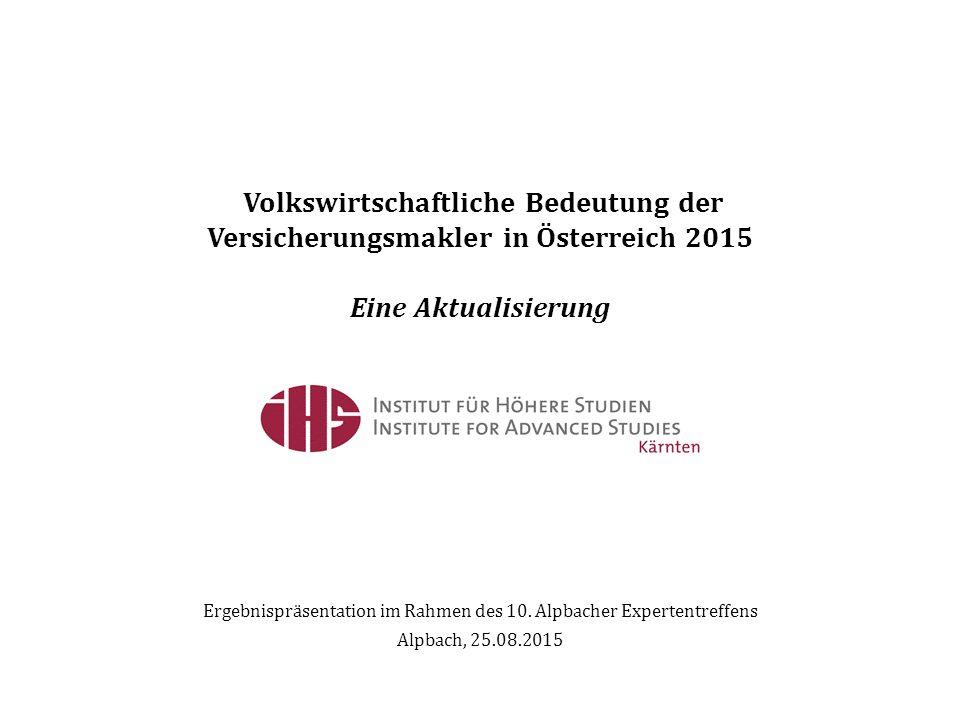 Volkswirtschaftliche Bedeutung der Versicherungsmakler in Österreich 2015 Eine Aktualisierung Ergebnispräsentation im Rahmen des 10.