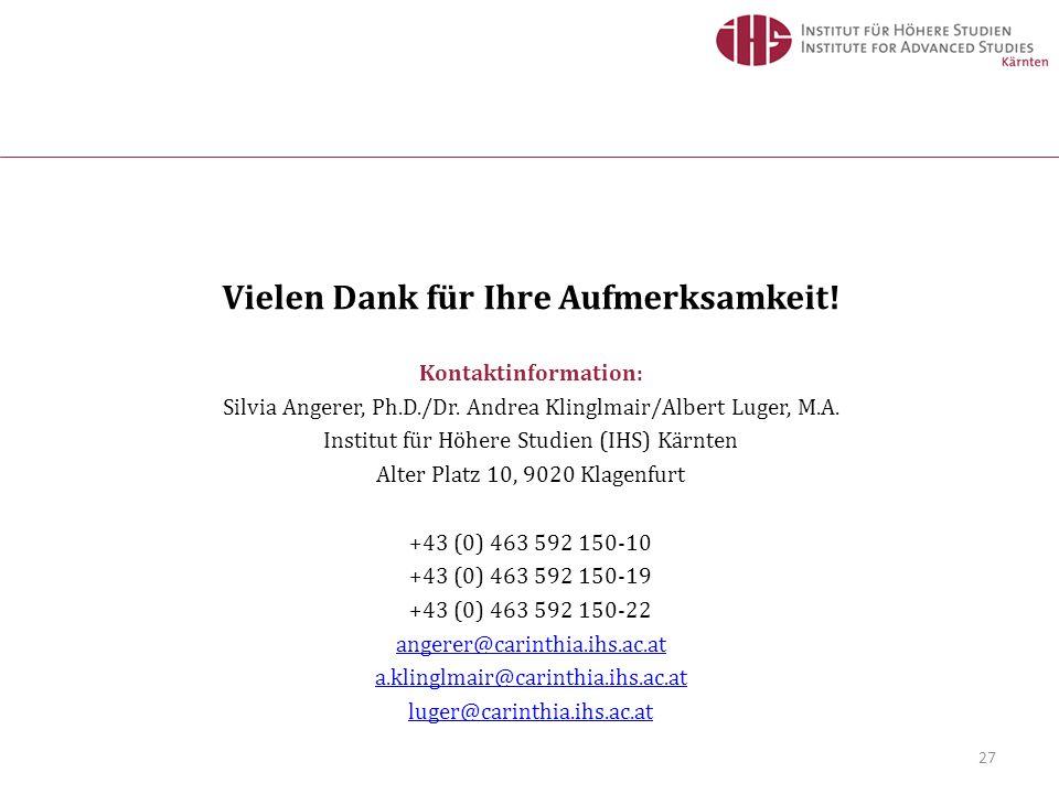 27 Vielen Dank für Ihre Aufmerksamkeit! Kontaktinformation: Silvia Angerer, Ph.D./Dr. Andrea Klinglmair/Albert Luger, M.A. Institut für Höhere Studien