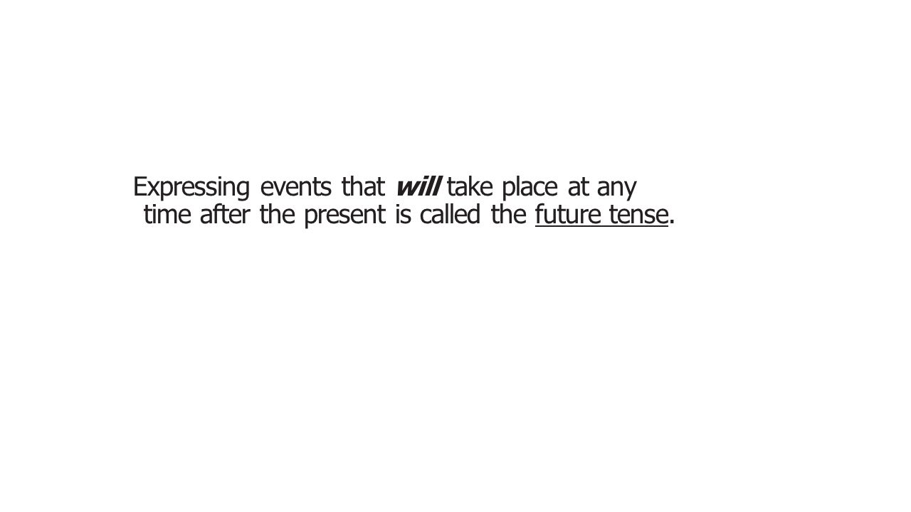 Expressing events that will take place at any time after the present is called the future tense.. ?
