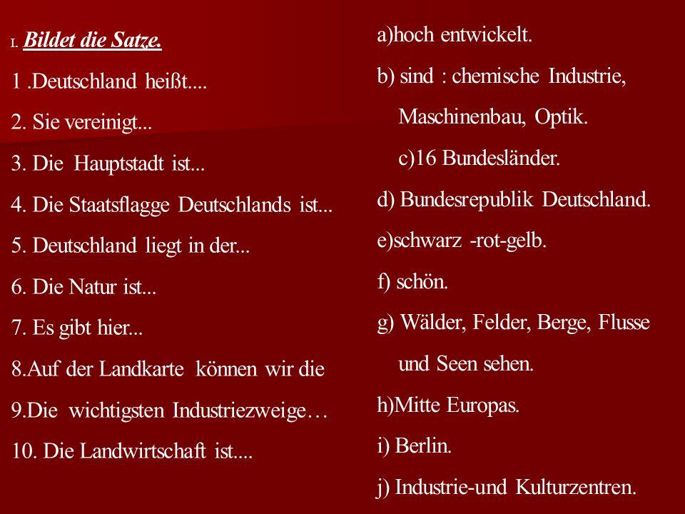 Deutschland hat viele Gebirge. Das sind: der Harz, der Thüringer Wald, das Erzgebirge, der Schwarzwald, die Bayerische Alpen. Der höchste Berg ist die