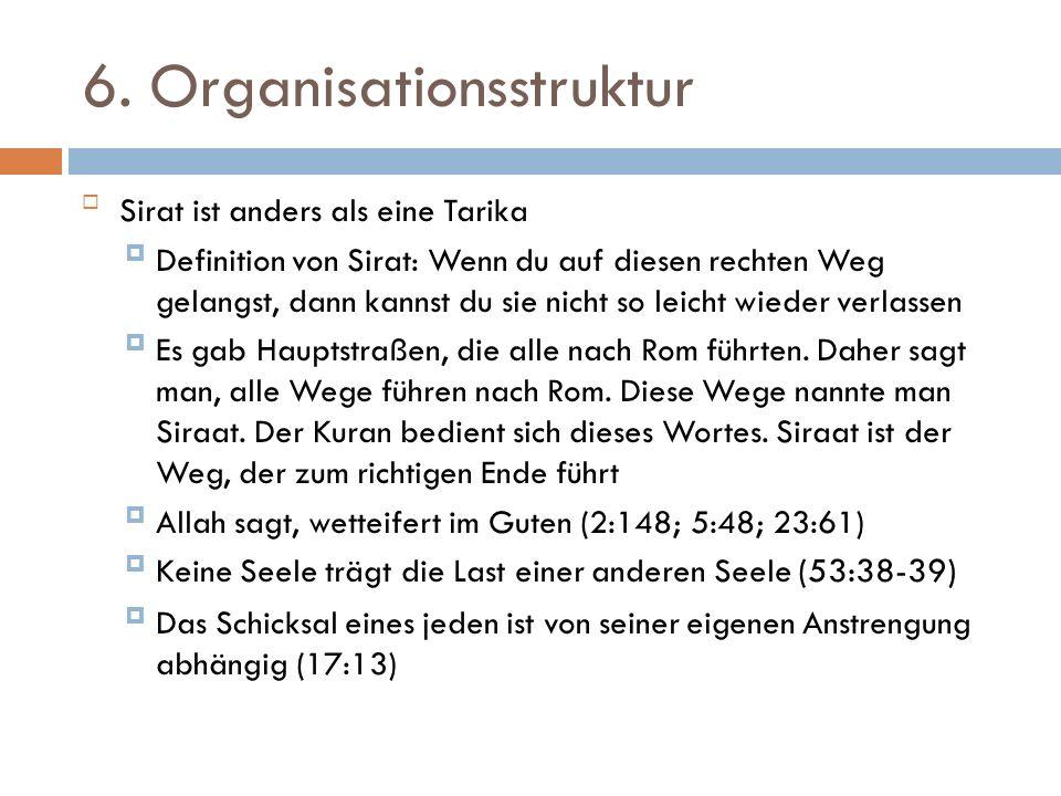 6. Organisationsstruktur Sirat ist anders als eine Tarika Definition von Sirat: Wenn du auf diesen rechten Weg gelangst, dann kannst du sie nicht so