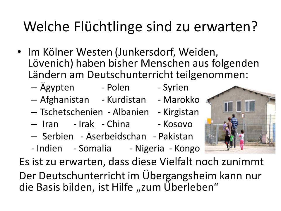 Welche Flüchtlinge sind zu erwarten? Im Kölner Westen (Junkersdorf, Weiden, Lövenich) haben bisher Menschen aus folgenden Ländern am Deutschunterricht