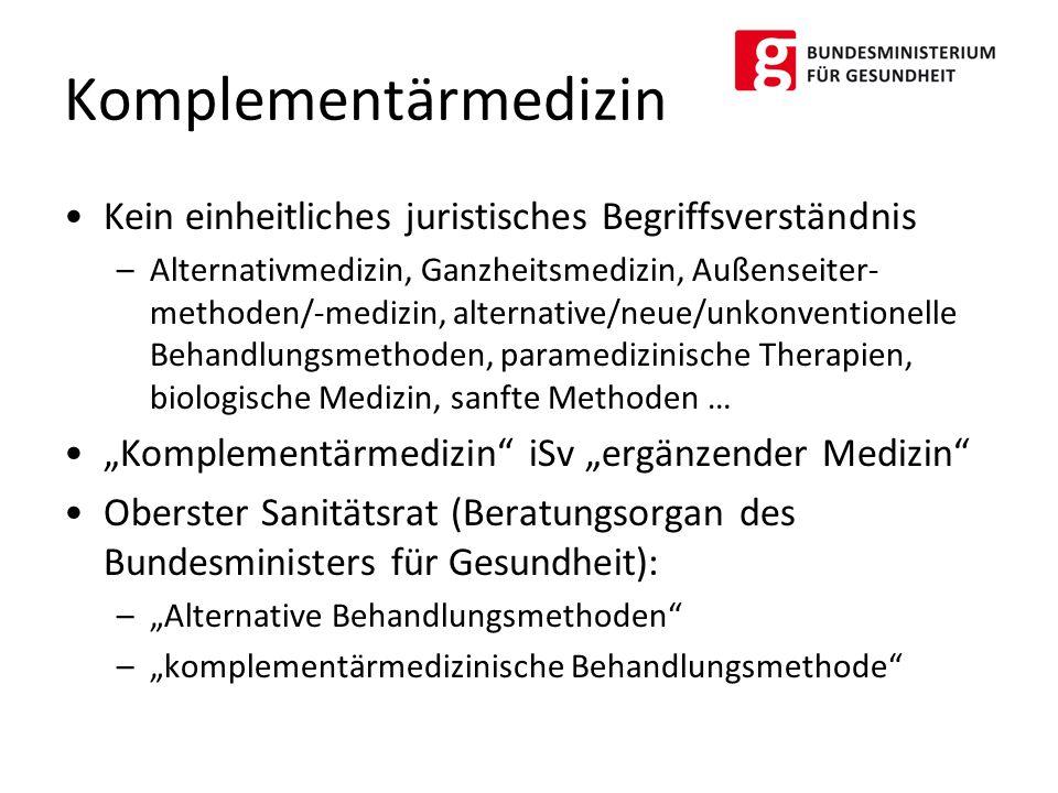 Kein einheitliches juristisches Begriffsverständnis –Alternativmedizin, Ganzheitsmedizin, Außenseiter- methoden/-medizin, alternative/neue/unkonventio