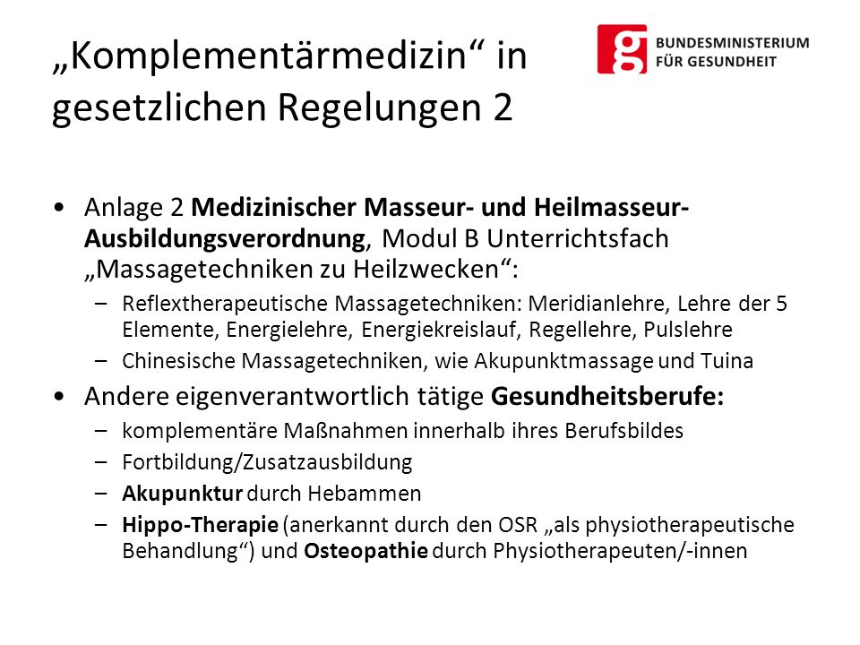 """Anlage 2 Medizinischer Masseur- und Heilmasseur- Ausbildungsverordnung, Modul B Unterrichtsfach """"Massagetechniken zu Heilzwecken"""": –Reflextherapeutisc"""