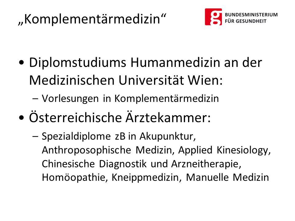 Diplomstudiums Humanmedizin an der Medizinischen Universität Wien: –Vorlesungen in Komplementärmedizin Österreichische Ärztekammer: –Spezialdiplome zB