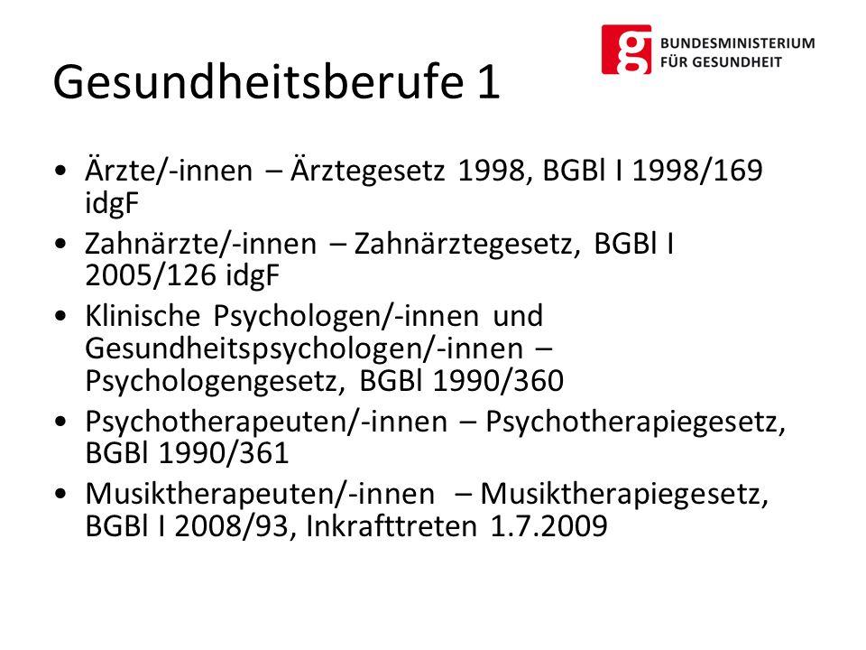 Ärzte/-innen – Ärztegesetz 1998, BGBl I 1998/169 idgF Zahnärzte/-innen – Zahnärztegesetz, BGBl I 2005/126 idgF Klinische Psychologen/-innen und Gesund