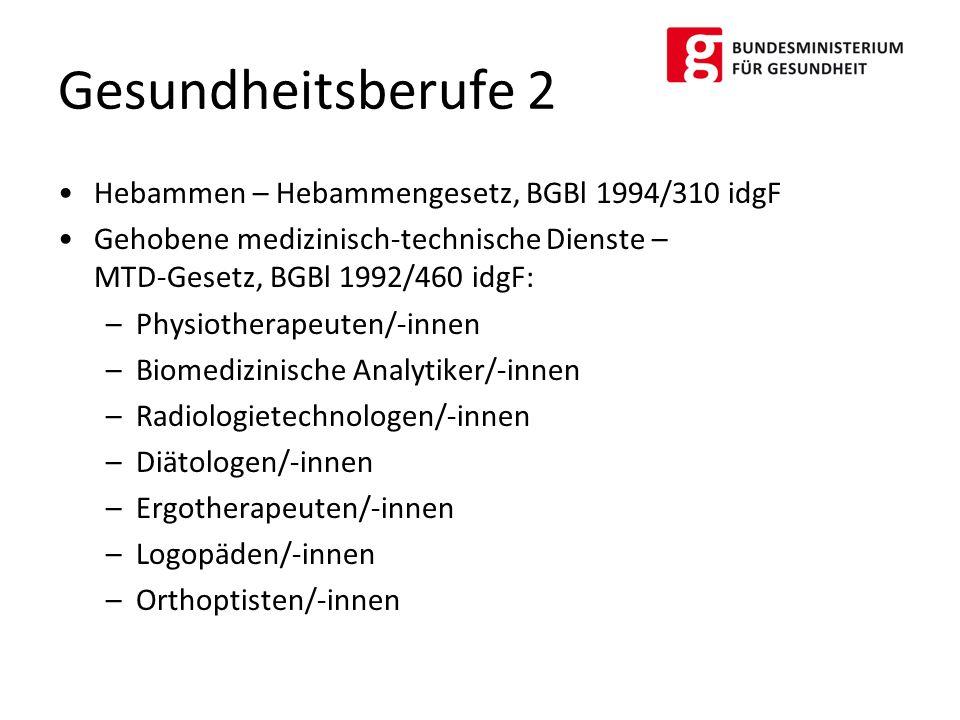 Hebammen – Hebammengesetz, BGBl 1994/310 idgF Gehobene medizinisch-technische Dienste – MTD-Gesetz, BGBl 1992/460 idgF: –Physiotherapeuten/-innen –Bio