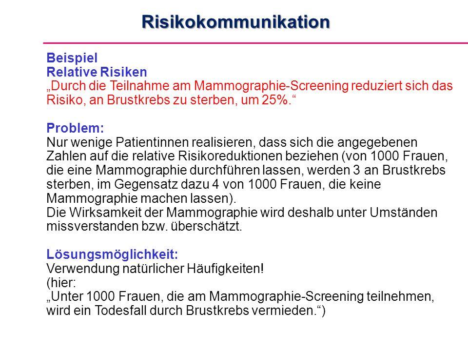"""Beispiel Relative Risiken """"Durch die Teilnahme am Mammographie-Screening reduziert sich das Risiko, an Brustkrebs zu sterben, um 25%. Problem: Nur wenige Patientinnen realisieren, dass sich die angegebenen Zahlen auf die relative Risikoreduktionen beziehen (von 1000 Frauen, die eine Mammographie durchführen lassen, werden 3 an Brustkrebs sterben, im Gegensatz dazu 4 von 1000 Frauen, die keine Mammographie machen lassen)."""