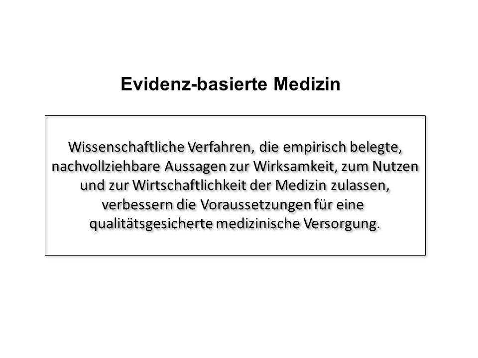 Evidenz-basierte Medizin Wissenschaftliche Verfahren, die empirisch belegte, nachvollziehbare Aussagen zur Wirksamkeit, zum Nutzen und zur Wirtschaftlichkeit der Medizin zulassen, verbessern die Voraussetzungen für eine qualitätsgesicherte medizinische Versorgung.
