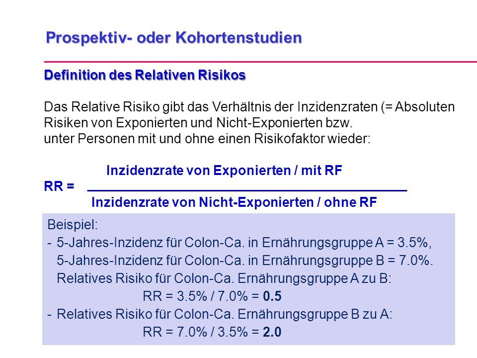 Prospektiv- oder Kohortenstudien Definition des Relativen Risikos Das Relative Risiko gibt das Verhältnis der Inzidenzraten (= Absoluten Risiken von Exponierten und Nicht-Exponierten bzw.