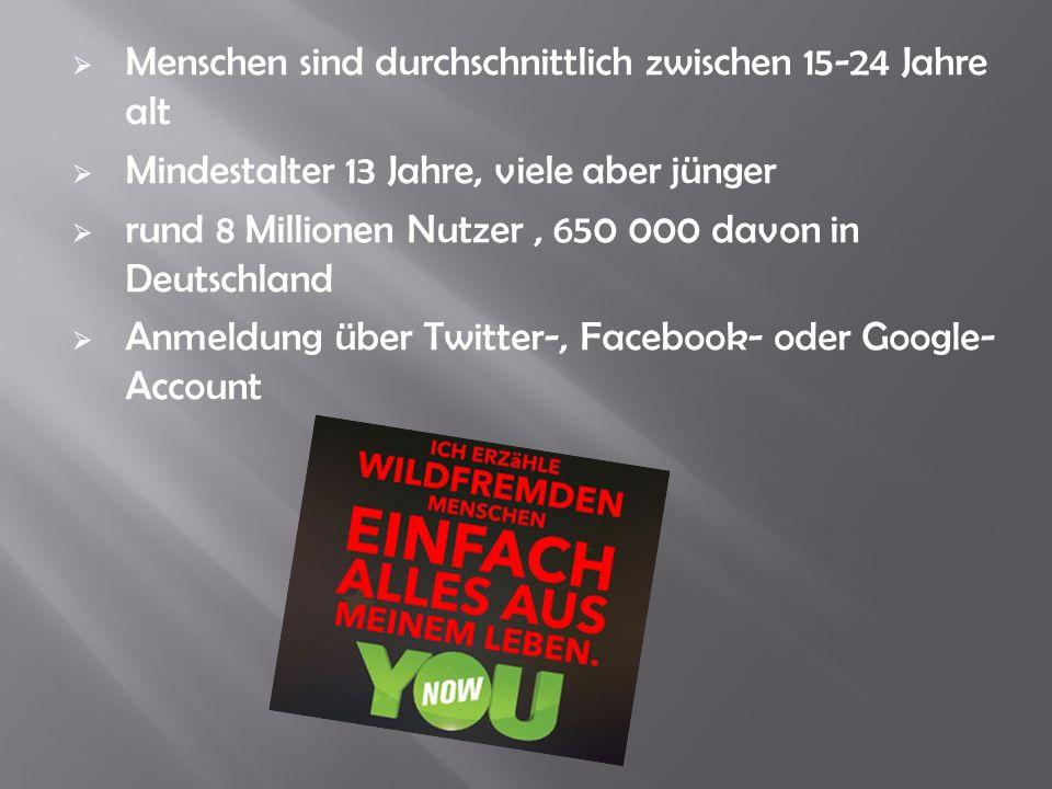  Menschen sind durchschnittlich zwischen 15-24 Jahre alt  Mindestalter 13 Jahre, viele aber jünger  rund 8 Millionen Nutzer, 650 000 davon in Deutschland  Anmeldung über Twitter-, Facebook- oder Google- Account