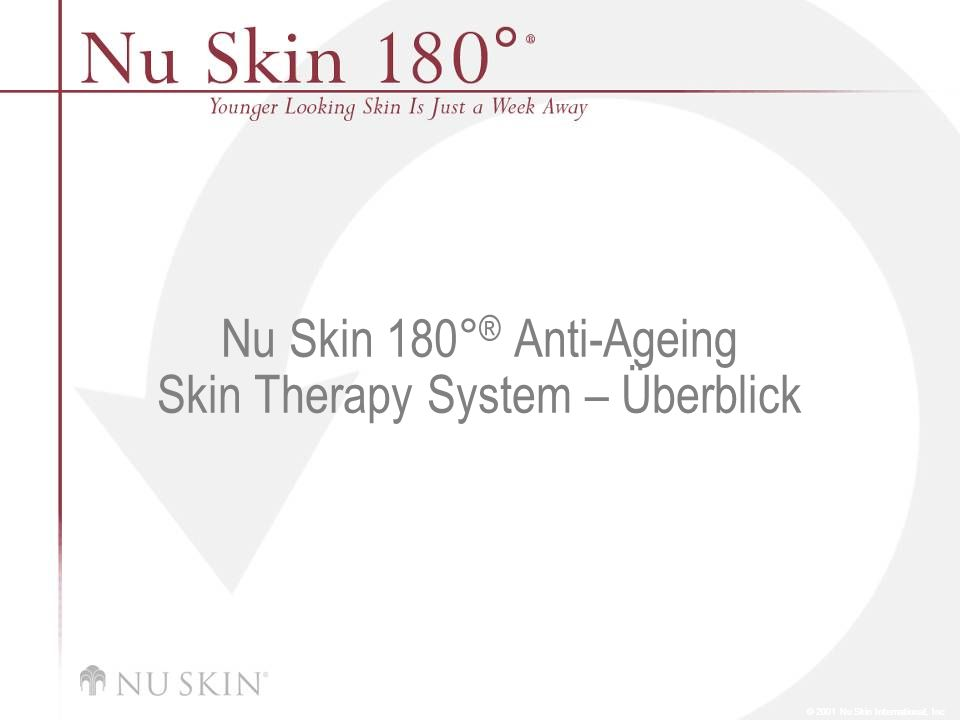 Klinische Studie Nach einer 7-tägigen klinischen Studie mit Nu Skin 180°® Anti-Ageing Skin Therapy System wurden folgende Ergebnisse festgestellt: Verbesserung der Elastizität um 39 % Verbesserung der Hautbeschaffenheit um 19 % Rückgang von Verfärbungen um 30 % Erhöhung des Feuchtigkeitsgehalts um 35 % All das gibt es für Sie in einem System, das so sanft ist, dass Sie es jeden Tag und für jeden Hauttyp benutzen können und das dennoch so wirkungsvoll ist, dass Ergebnisse bereits nach sieben Tagen zu sehen sind.