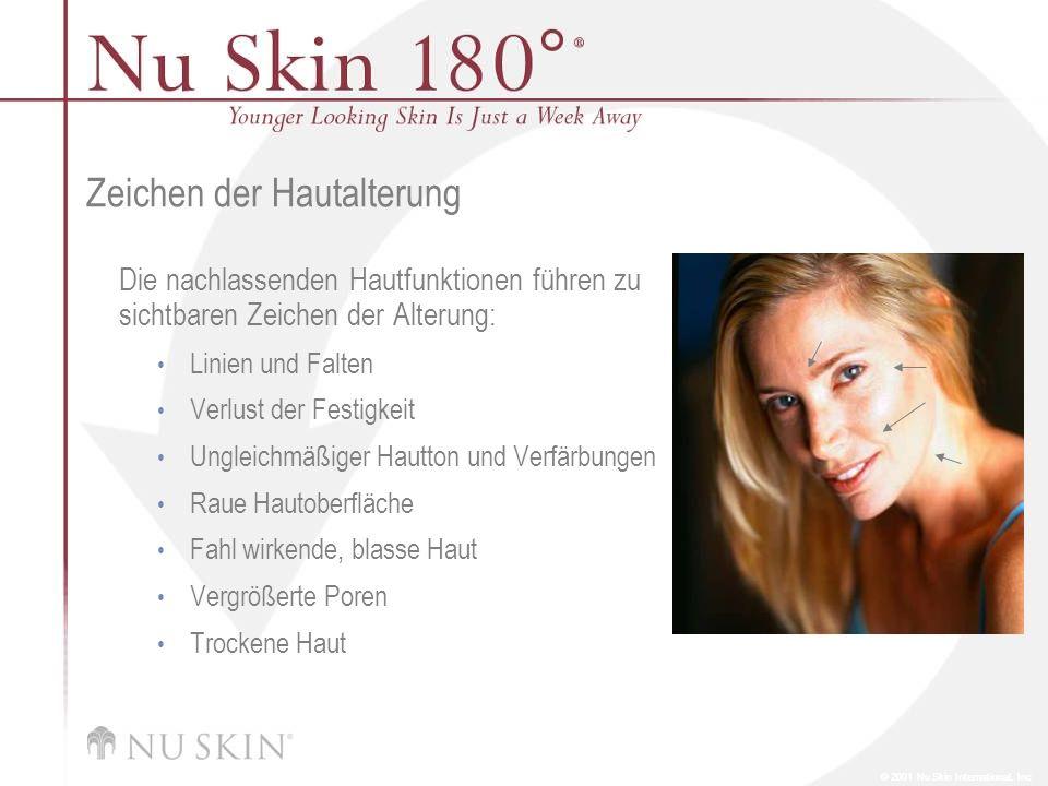 © 2001 Nu Skin International, Inc Zeichen der Hautalterung Die nachlassenden Hautfunktionen führen zu sichtbaren Zeichen der Alterung: Linien und Falt