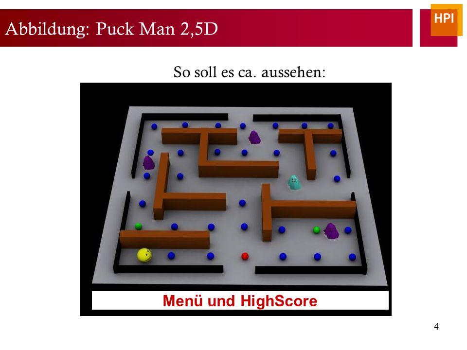 4 Abbildung: Puck Man 2,5D So soll es ca. aussehen: Menü und HighScore