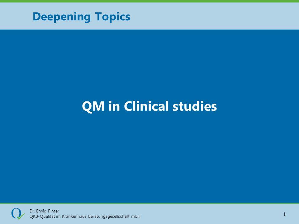 Dr. Erwig Pinter QKB-Qualität im Krankenhaus Beratungsgesellschaft mbH 1 QM in Clinical studies Deepening Topics