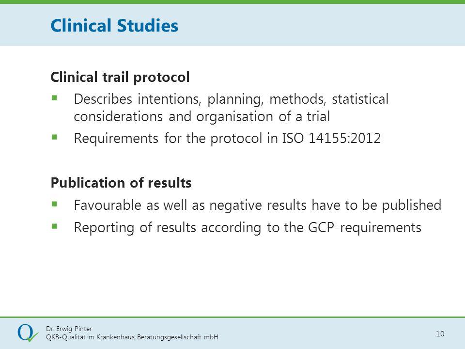Dr. Erwig Pinter QKB-Qualität im Krankenhaus Beratungsgesellschaft mbH 10 Clinical trail protocol  Describes intentions, planning, methods, statistic