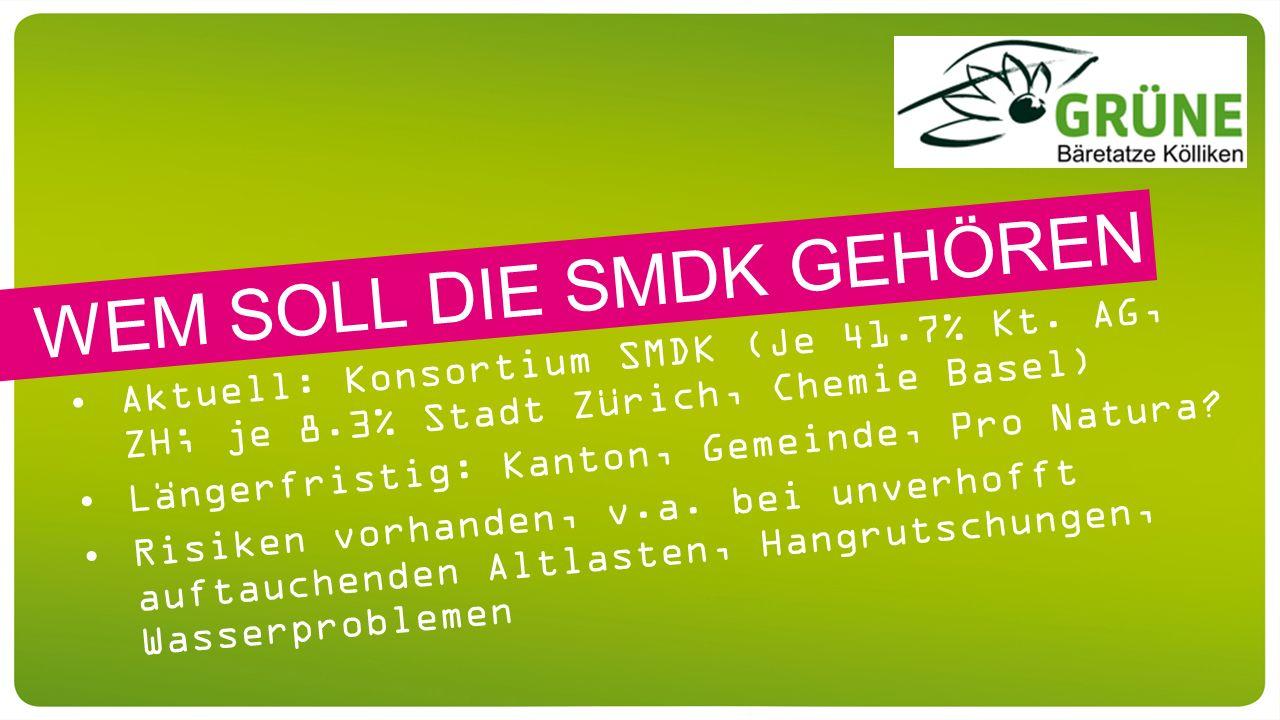 Aktuell: Konsortium SMDK (Je 41.7% Kt. AG, ZH; je 8.3% Stadt Zürich, Chemie Basel) Längerfristig: Kanton, Gemeinde, Pro Natura? Risiken vorhanden, v.a