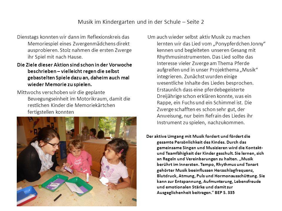 Musik im Kindergarten und in der Schule – Seite 2 Dienstags konnten wir dann im Reflexionskreis das Memoriespiel eines Zwergenmädchens direkt ausprobi