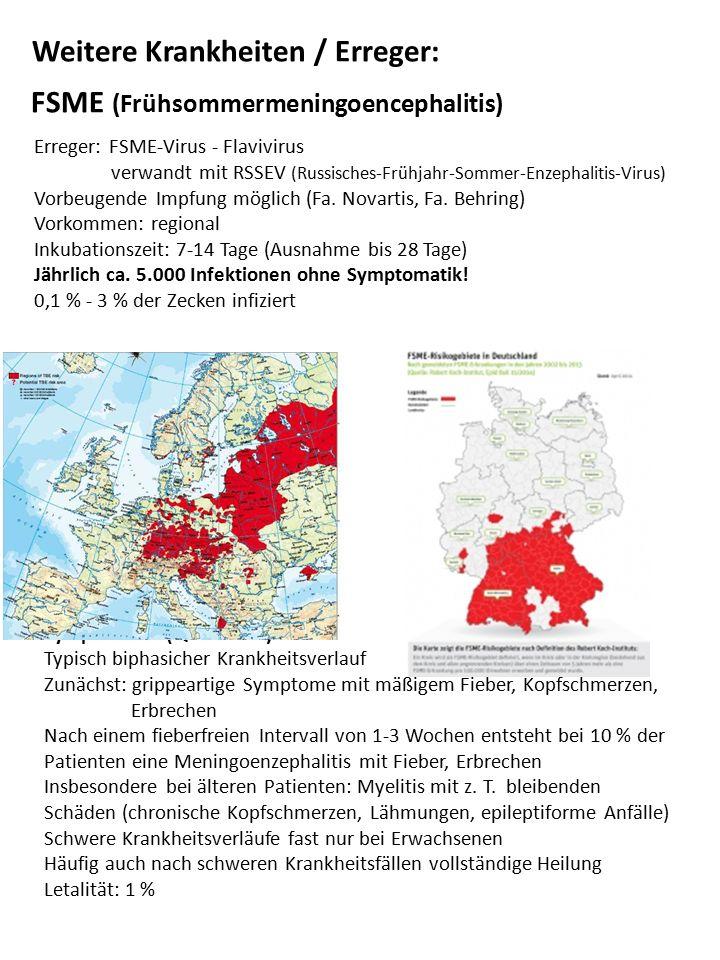 Weitere Krankheiten / Erreger: FSME (Frühsommermeningoencephalitis) Erreger: FSME-Virus - Flavivirus verwandt mit RSSEV (Russisches-Frühjahr-Sommer-En