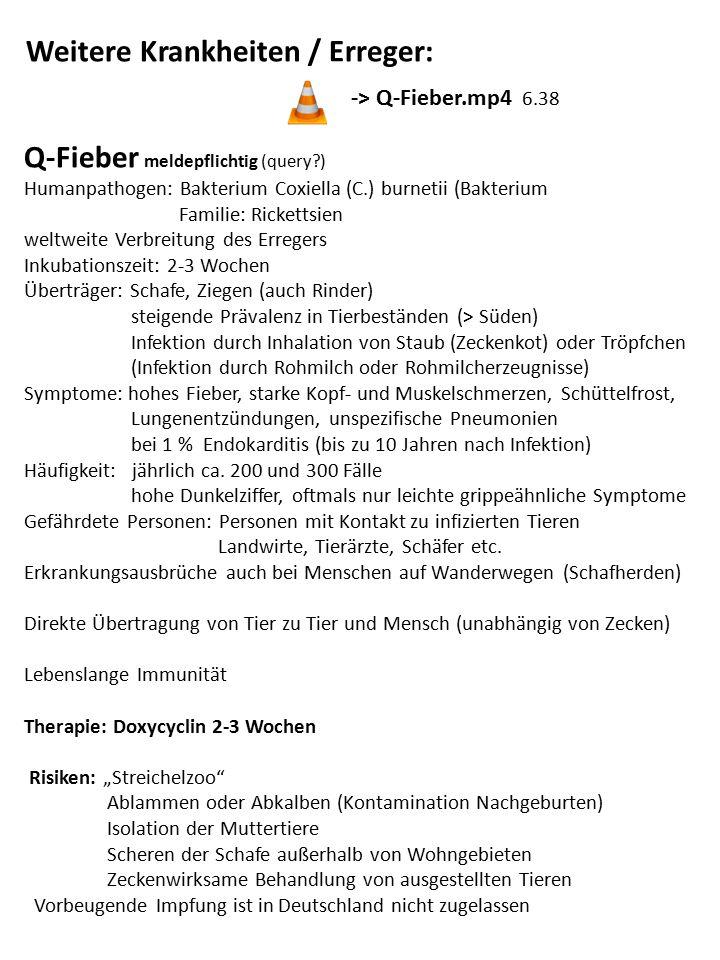 Weitere Krankheiten / Erreger: -> Q-Fieber.mp4 6.38 Q-Fieber meldepflichtig (query?) Humanpathogen: Bakterium Coxiella (C.) burnetii (Bakterium Famili