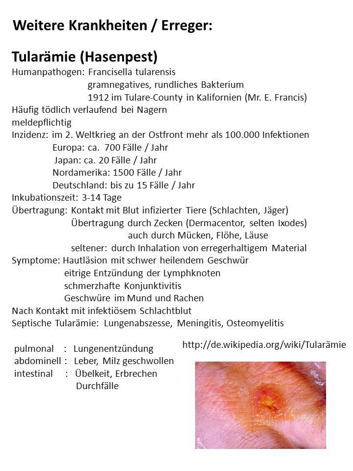 Weitere Krankheiten / Erreger: Tularämie (Hasenpest) Humanpathogen: Francisella tularensis gramnegatives, rundliches Bakterium 1912 im Tulare-County i