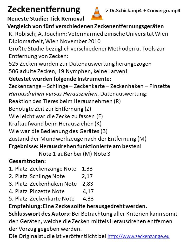 Zeckenentfernung -> Dr.Schick.mp4 + Convergo.mp4 Neueste Studie: Tick Removal Vergleich von fünf verschiedenen Zeckenentfernungsgeräten K. Robisch; A.