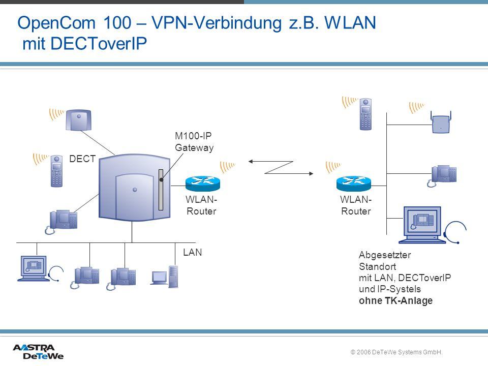 © 2006 DeTeWe Systems GmbH. OpenCom 100 – VPN-Verbindung z.B. WLAN mit DECToverIP Abgesetzter Standort mit LAN, DECToverIP und IP-Systels ohne TK-Anla