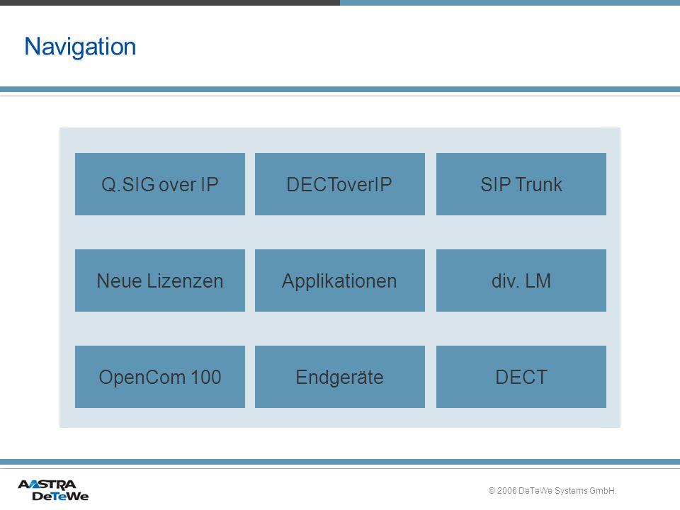 © 2006 DeTeWe Systems GmbH.Release 8 für OpenCom 100 »OpenCom 100 modular – immer vorn.