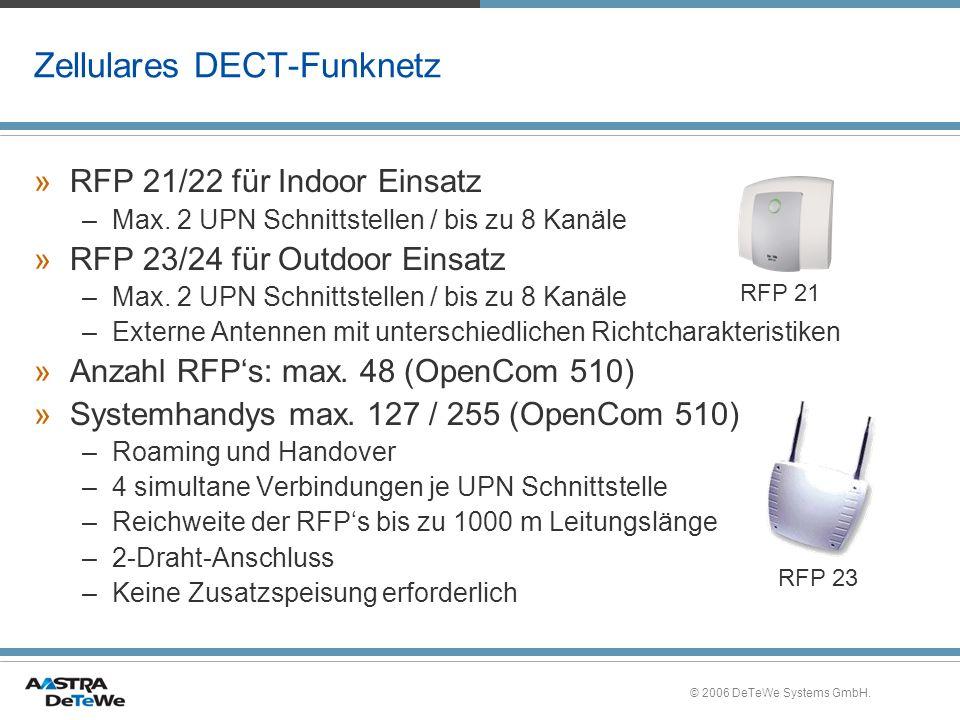 © 2006 DeTeWe Systems GmbH. Zellulares DECT-Funknetz »RFP 21/22 für Indoor Einsatz –Max. 2 UPN Schnittstellen / bis zu 8 Kanäle »RFP 23/24 für Outdoor