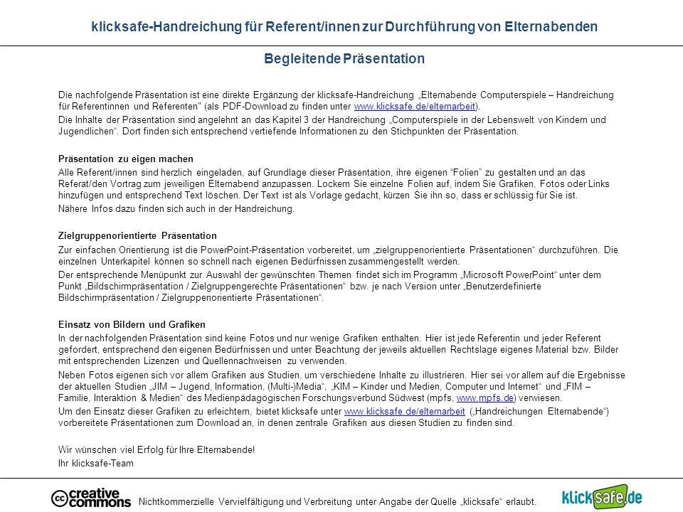 """Nichtkommerzielle Vervielfältigung und Verbreitung unter Angabe der Quelle """"klicksafe"""" erlaubt. klicksafe-Handreichung für Referent/innen zur Durchfüh"""