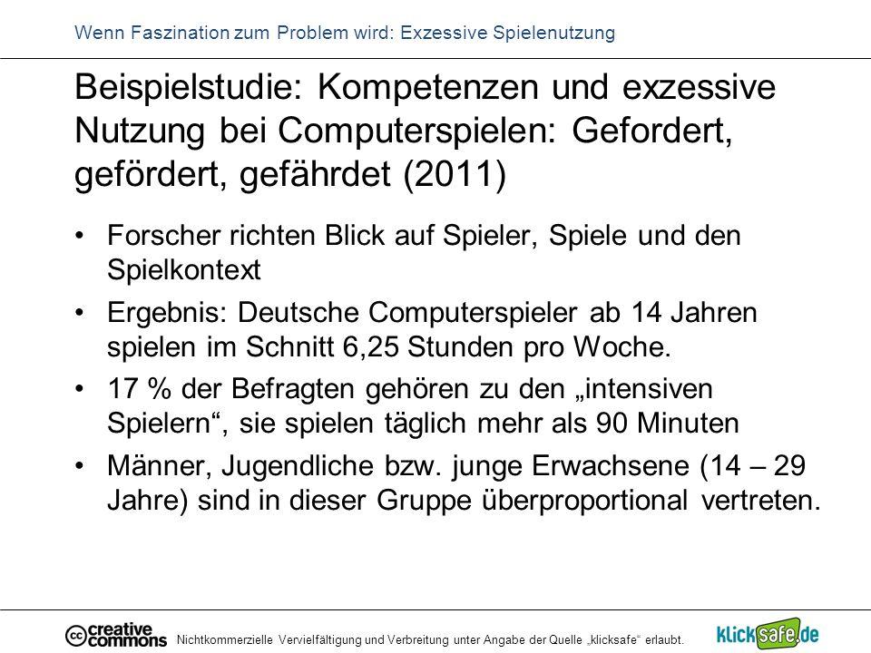 """Nichtkommerzielle Vervielfältigung und Verbreitung unter Angabe der Quelle """"klicksafe"""" erlaubt. Wenn Faszination zum Problem wird: Exzessive Spielenut"""