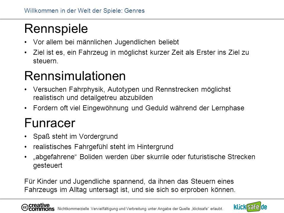 """Nichtkommerzielle Vervielfältigung und Verbreitung unter Angabe der Quelle """"klicksafe"""" erlaubt. Willkommen in der Welt der Spiele: Genres Rennspiele V"""