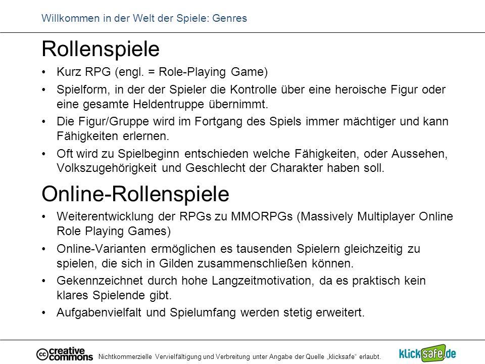 """Nichtkommerzielle Vervielfältigung und Verbreitung unter Angabe der Quelle """"klicksafe"""" erlaubt. Willkommen in der Welt der Spiele: Genres Rollenspiele"""