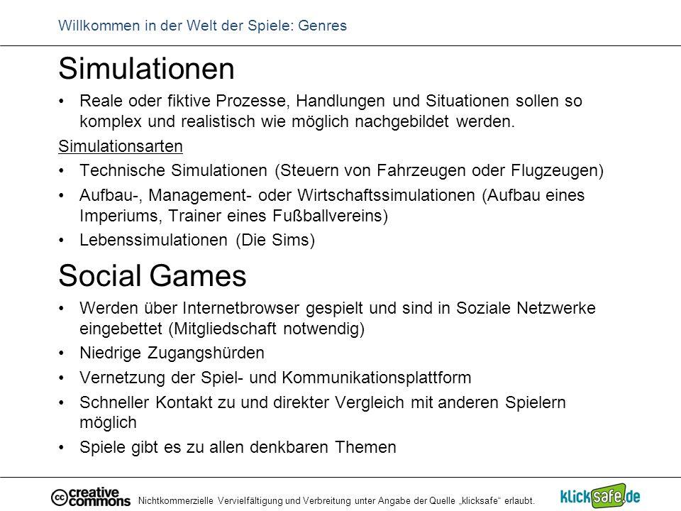 """Nichtkommerzielle Vervielfältigung und Verbreitung unter Angabe der Quelle """"klicksafe"""" erlaubt. Willkommen in der Welt der Spiele: Genres Simulationen"""