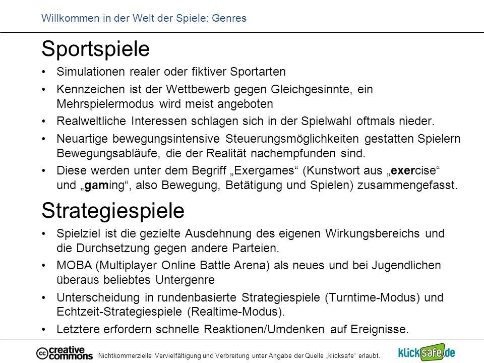 """Nichtkommerzielle Vervielfältigung und Verbreitung unter Angabe der Quelle """"klicksafe"""" erlaubt. Willkommen in der Welt der Spiele: Genres Sportspiele"""