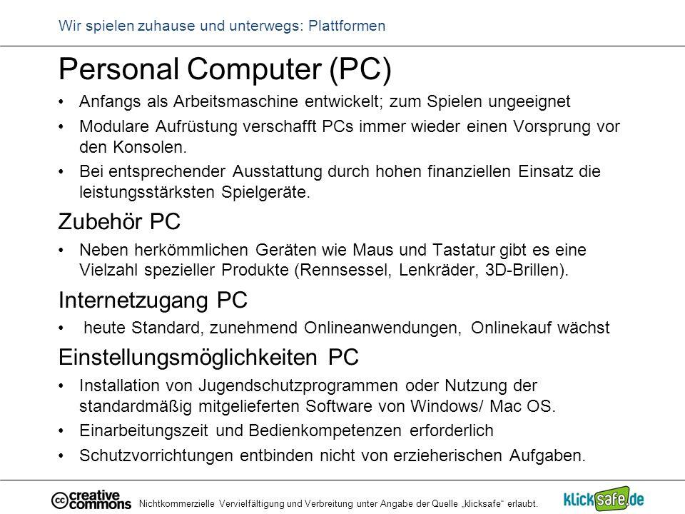 """Nichtkommerzielle Vervielfältigung und Verbreitung unter Angabe der Quelle """"klicksafe"""" erlaubt. Wir spielen zuhause und unterwegs: Plattformen Persona"""