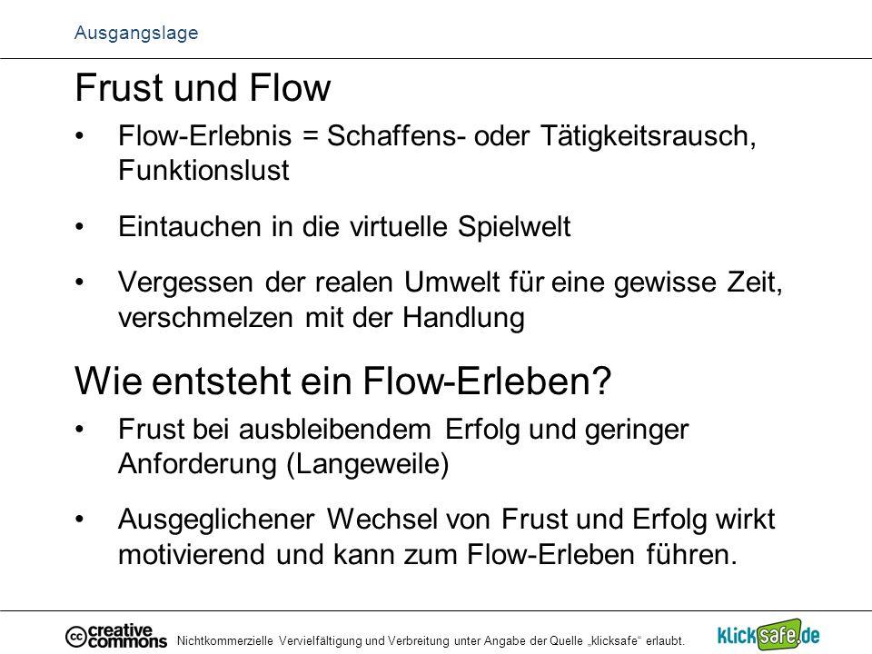 """Nichtkommerzielle Vervielfältigung und Verbreitung unter Angabe der Quelle """"klicksafe"""" erlaubt. Ausgangslage Frust und Flow Flow-Erlebnis = Schaffens-"""
