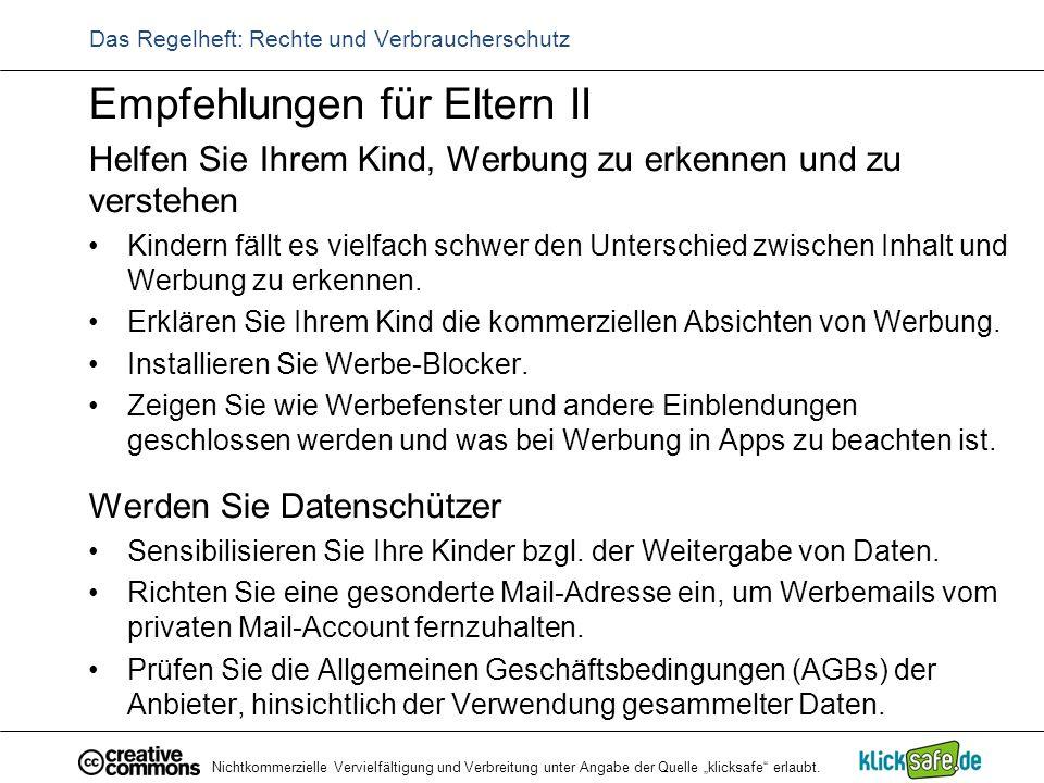 """Nichtkommerzielle Vervielfältigung und Verbreitung unter Angabe der Quelle """"klicksafe"""" erlaubt. Das Regelheft: Rechte und Verbraucherschutz Empfehlung"""