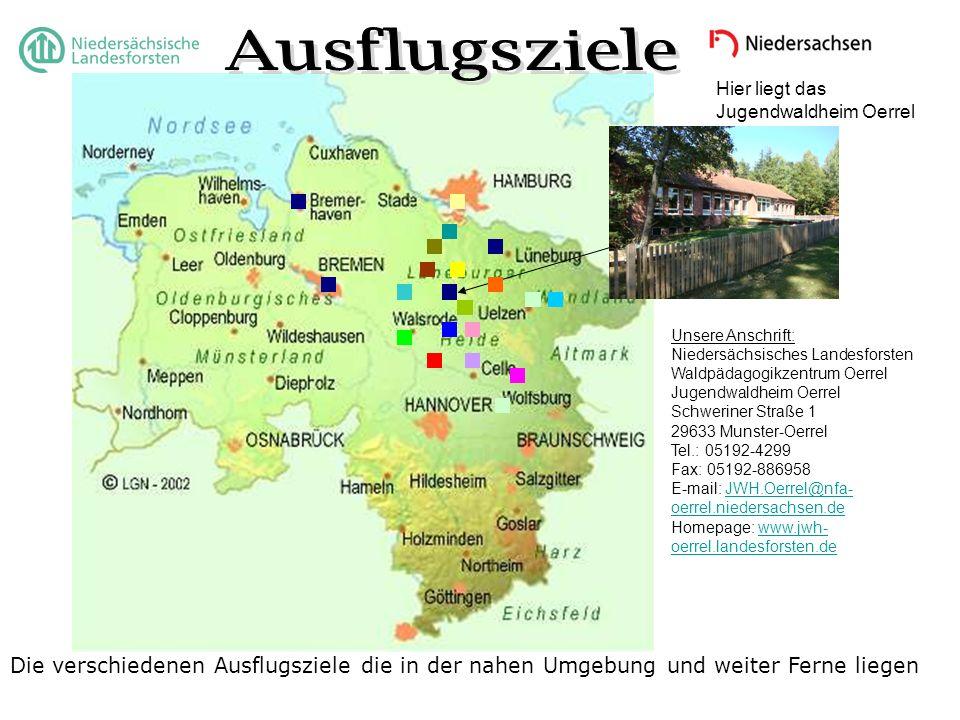 Hier liegt das Jugendwaldheim Oerrel Die verschiedenen Ausflugsziele die in der nahen Umgebung und weiter Ferne liegen Unsere Anschrift: Niedersächsis