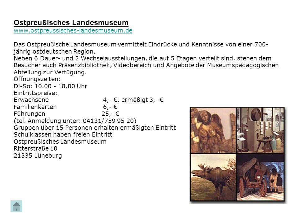 Ostpreußisches Landesmuseum www.ostpreussisches-landesmuseum.de Das Ostpreußische Landesmuseum vermittelt Eindrücke und Kenntnisse von einer 700- jähr