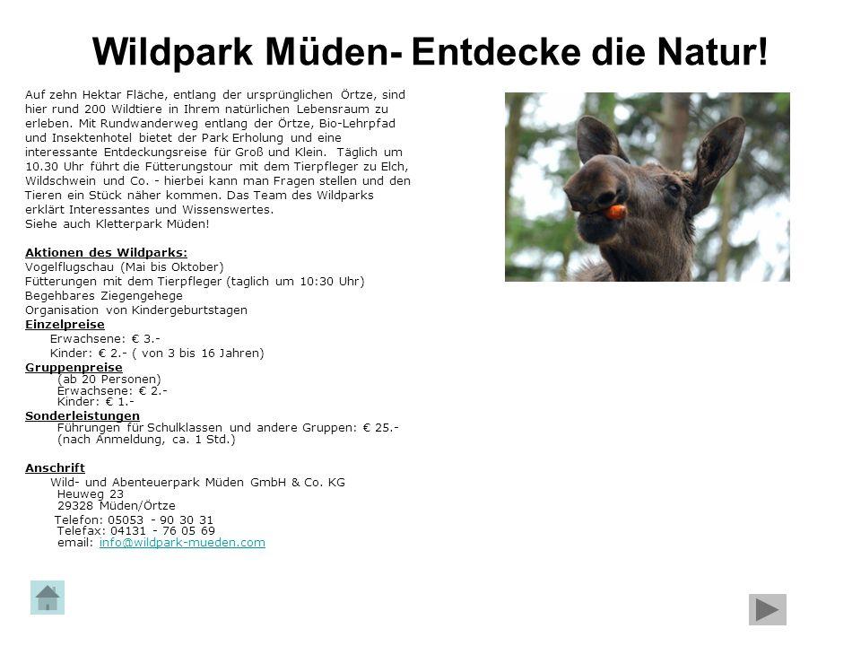 Wildpark Müden- Entdecke die Natur! Auf zehn Hektar Fläche, entlang der ursprünglichen Örtze, sind hier rund 200 Wildtiere in Ihrem natürlichen Lebens