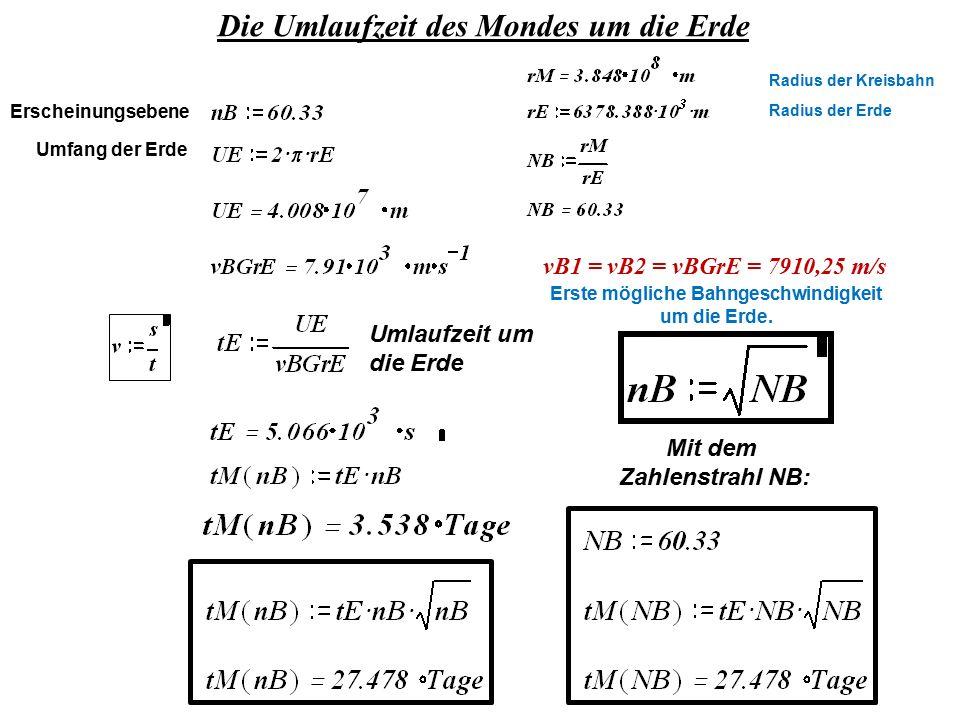 Die Umlaufzeit des Mondes um die Erde Mit dem Zahlenstrahl NB: vB1 = vB2 = vBGrE = 7910,25 m/s Erscheinungsebene Umlaufzeit um die Erde Radius der Kre