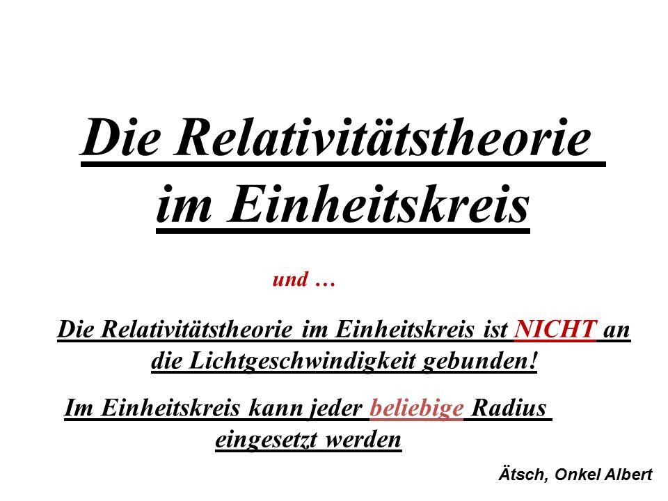 Die Relativitätstheorie im Einheitskreis Die Relativitätstheorie im Einheitskreis ist NICHT an die Lichtgeschwindigkeit gebunden! Im Einheitskreis kan